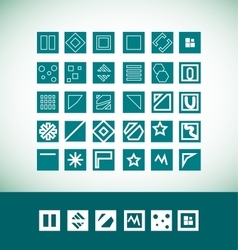 Simple flat geometric icon set vector image
