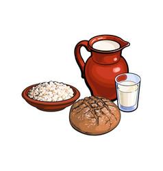 sketch dairy products dark bread loaf set vector image