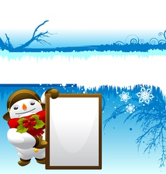 snowman with message board vector image