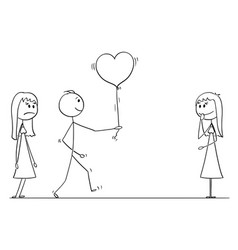 Stick character cartoon of loving man or boy vector