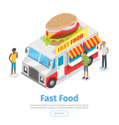 street fast food isometric web banner vector image