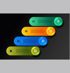 Stylish four steps infographic design in dark vector