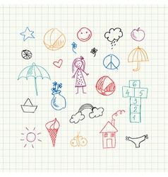 Summer doodles set vector