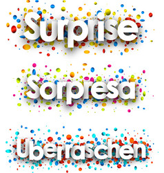 Surprise banner with colorful confetti vector