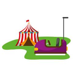 tent and bumper car carnival fun fair vector image