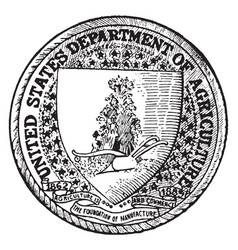 the seal of the department of agriculture of the vector image
