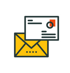 thin lines connection mail icon outline of big vector image