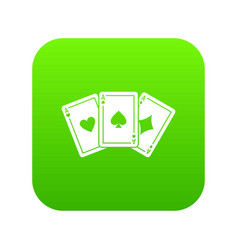 three aces playing cards icon digital green vector image