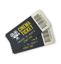 two cinema ticket set for entertainment event vector image