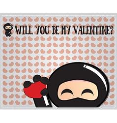 Valentines day card with cute cartoon ninja vector image