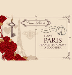 vintage postcard with the eiffel tower and roses vector image