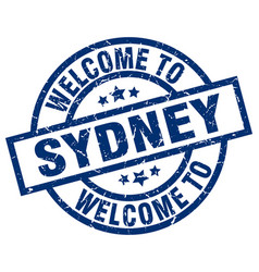 Welcome to sydney blue stamp vector