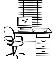 with office work place vector image