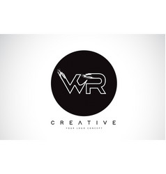 Wr modern leter logo design with black and white vector