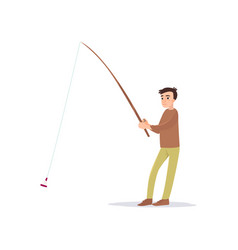 young fisherman fishing with rod male fisher vector image