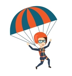 Young happy woman flying with parachute vector image