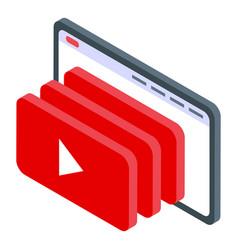 Youtube music icon isometric style vector