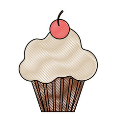 cup cake glazed cherry vector image vector image