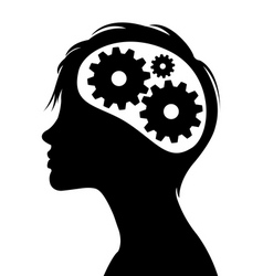 gears in head silhouette vector image