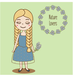 hand drawn girl with braids beautiful kid in blue vector image vector image