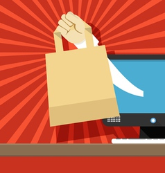 Hand with shopping bag vector image vector image