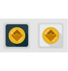 Light and dark waves crypto currency icon vector