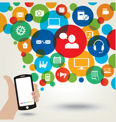 Mobile phone and social media icons vector image