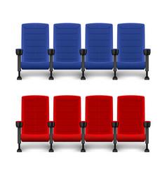 Realistic comfortable movie chairs cinema empty vector