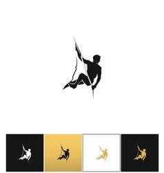 Rock climber logo or mountain climbing adventure vector image