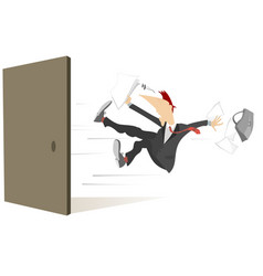 Young man flies out from the open door isolated vector