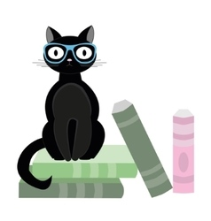 Black cat with glasses and books vector