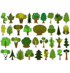 Cute doodle trees tree doodles set isolated on vector image vector image