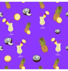 Pina Colada purple seamless pattern Pineapple vector image
