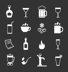Set icons of bar drinks and beverages vector image