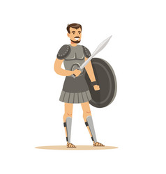 warrior character man in historical armor with vector image