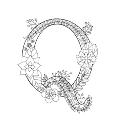 Letter Q coloring book for adults vector image vector image