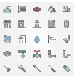 plumbing colorful icons vector image