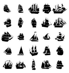 Sailing ship silhouette set vector