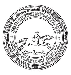 The seal of the post-office department of the vector
