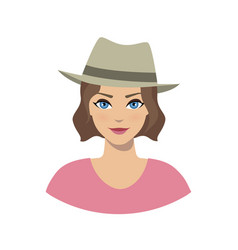 avatar icon of girl in a fedora hat vector image