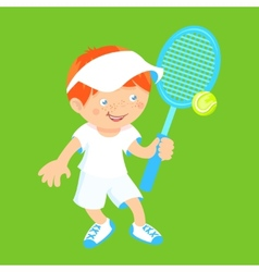 Boy with badminton racquet vector image