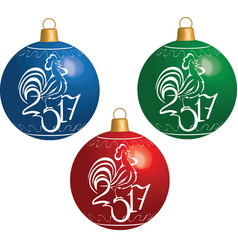Christmas ball with cock symbol of New 2017 vector image vector image
