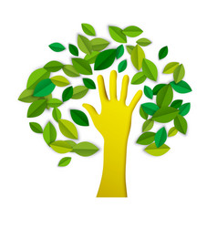 hand tree paper cut art for environment care vector image vector image