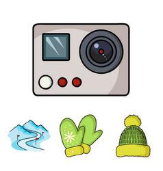 mittens warm hat ski piste motion camera ski vector image vector image