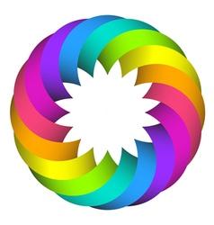 rainbow circle flower logo design vector image vector image
