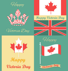 set of vintage posters for victoria day vector image