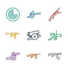 9 firearm icons vector