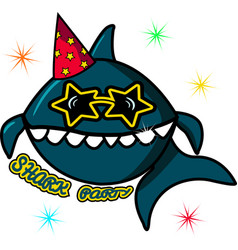 A big blue shark on a birthday in sunglasses sea vector