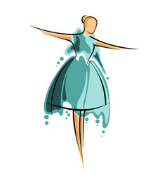 Abstract drawing of a girl in green dres artwork vector