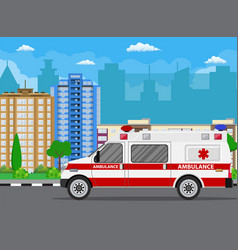 ambulance car city landscape with skyscrapers vector image